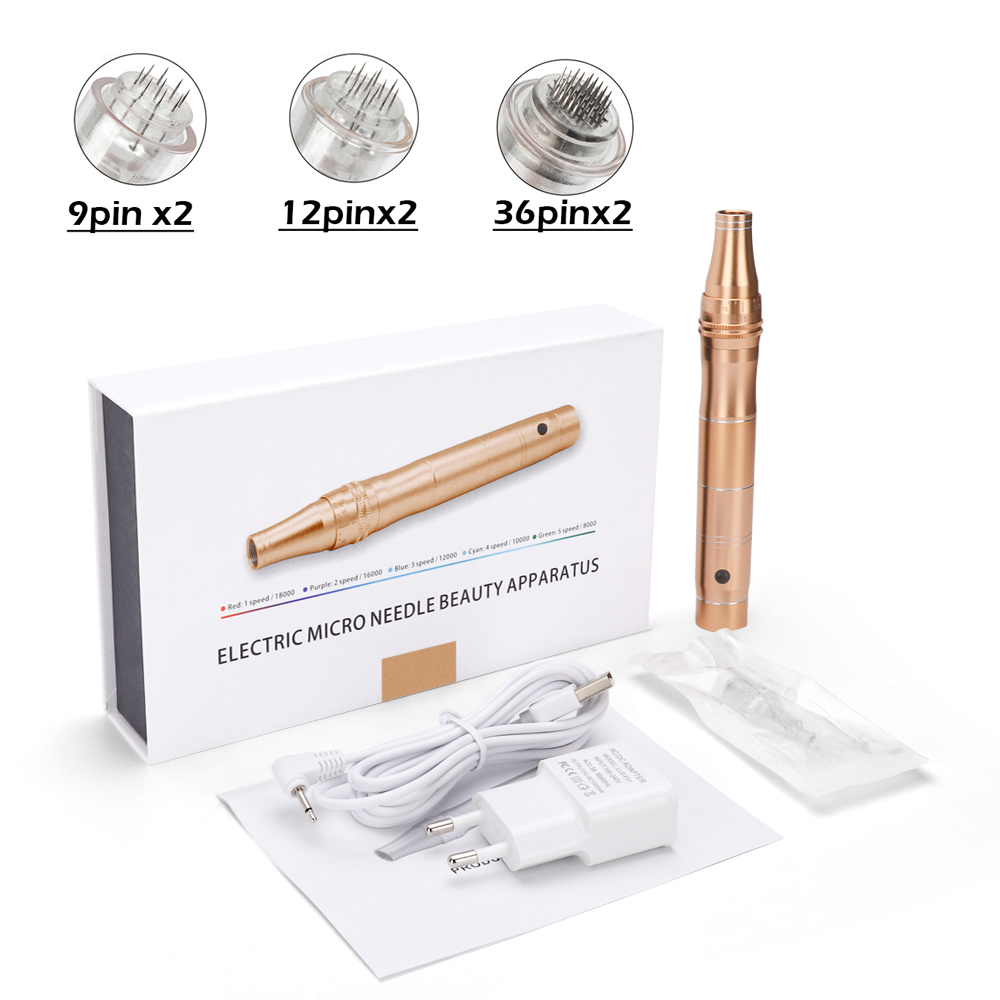 Electric Micro Tiny Needles Derma Pen Professional Wireless Electric Dr Pen With 6Pcs Needles Microneedling Tattoo Gun Skin Care