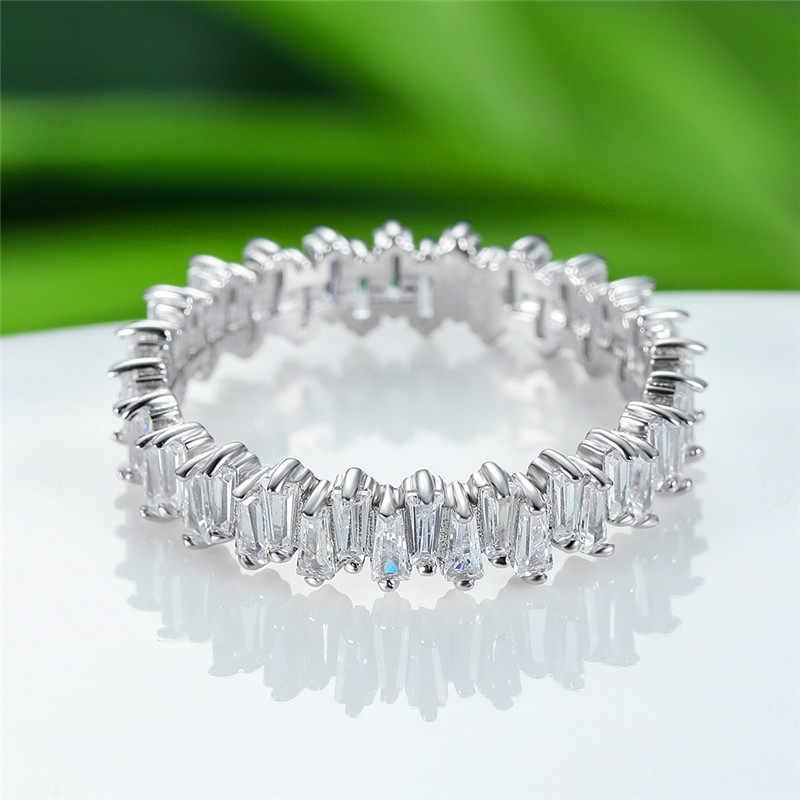 หญิงหรูหราขนาดเล็กเพชรธรรมชาติแหวนหินแท้ 100% แท้ 925 แหวนเงินแหวนแต่งงาน Vintage