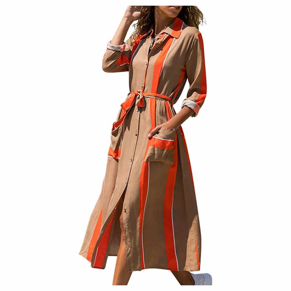 Fashion Women Vintage Dress Striped Print Bandage Waist Shirt Dress Autumn Ladies Turn-down Collar Pocket Casual Dress  #Zer