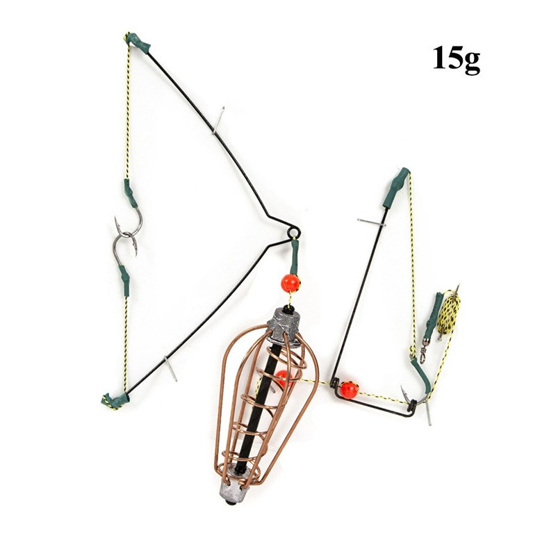 6xSpring Fishing Feeder Coil Inline Method Feeder Carp Tench Baits Cage /& Hook