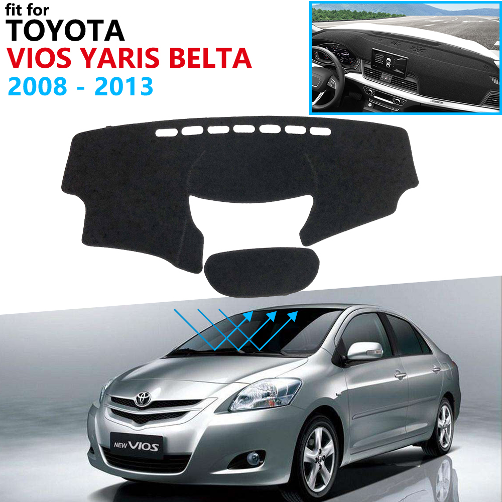 Dashboard Cover Protective Pad for Toyota Vios Yaris Belta Soluna XP90 2008 2013 Car Accessories Dash Board Sunshade Carpet 2012