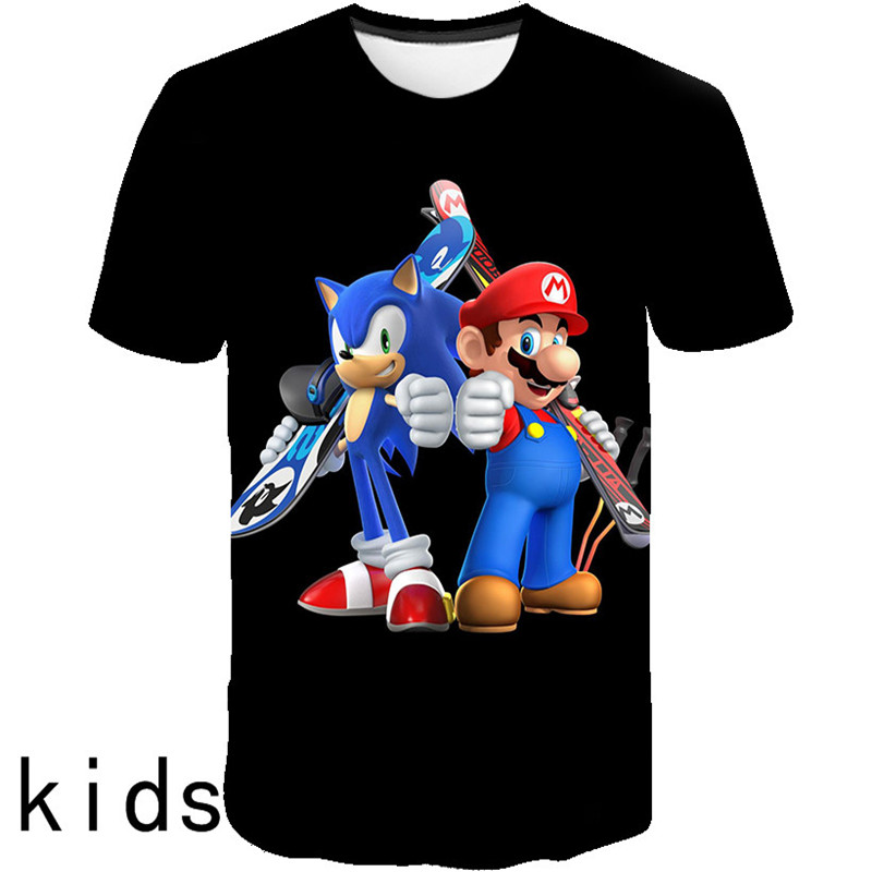Boys Mario Supersonic Sonic Print Clothes Girls 3D Funny T-shirts Costume Children 2019 Summer Clothing Kids Tees Baby Tshirts
