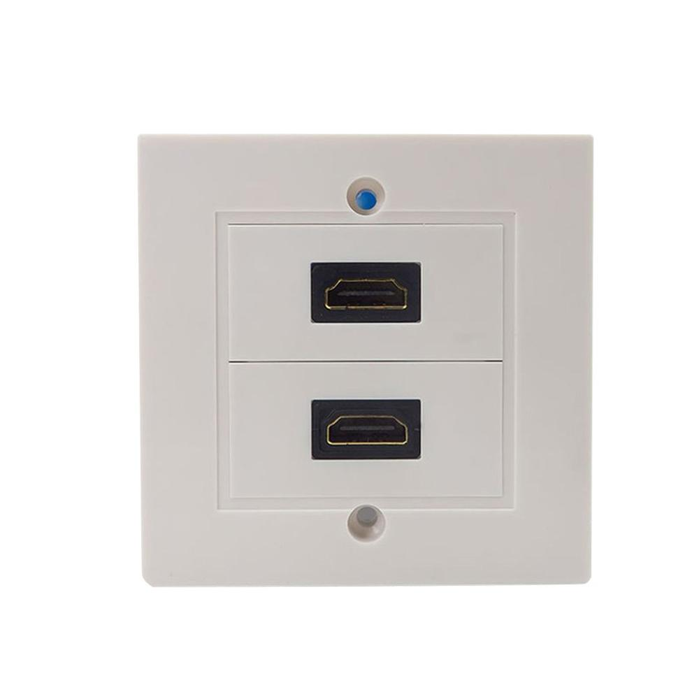 Practical Double Connection Port White Hdmi Lead Wall Plate Full Hd 1080 Tv Cable Faceplate Socket Connector