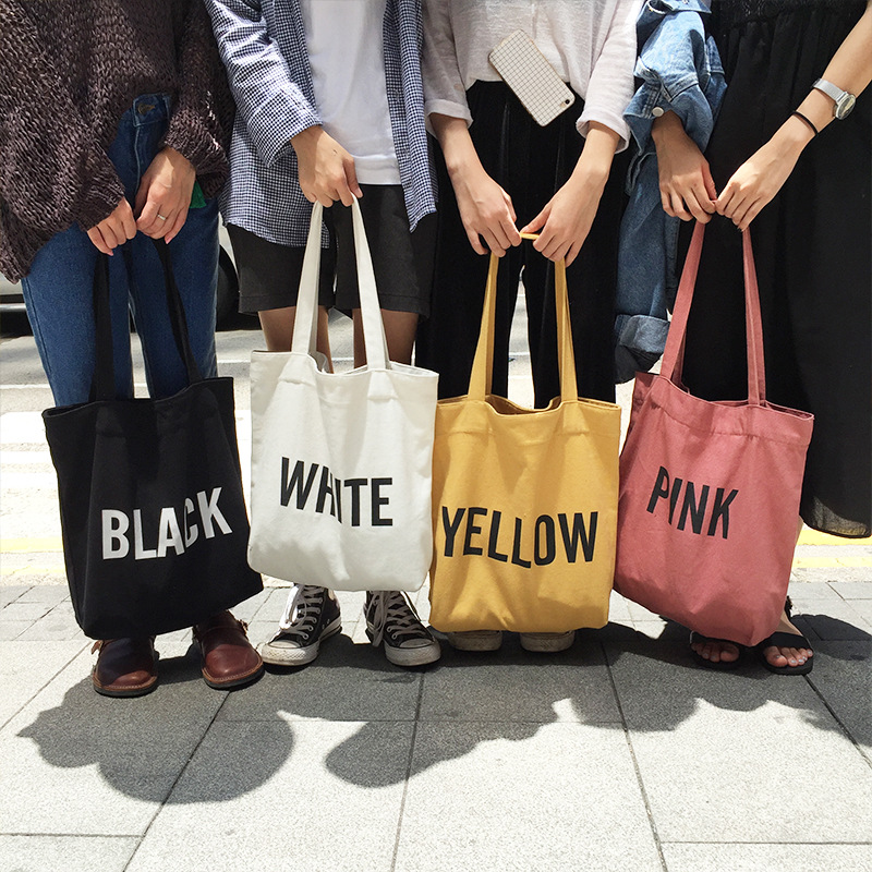 Canvas Tote Bag For Women Letter Printing Handbags Eco Reusable Cloth Shopping Bag Student School Bags Ladies Casual Shopper Bag