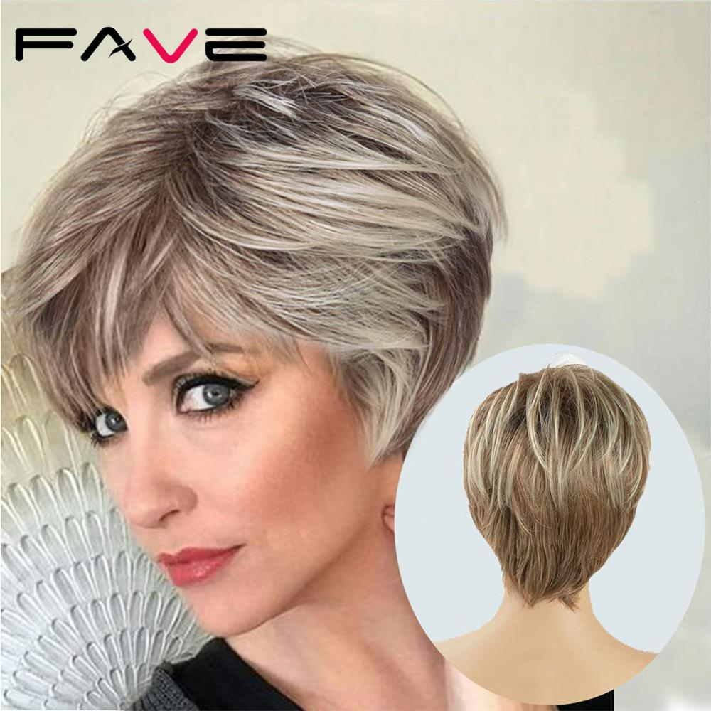 FAVE Brown Mixed Blonde Color Short Layer Nature Curly With Bangs Synthetic Wig Heat Resistant Fiber Weave Full Wigs For Women