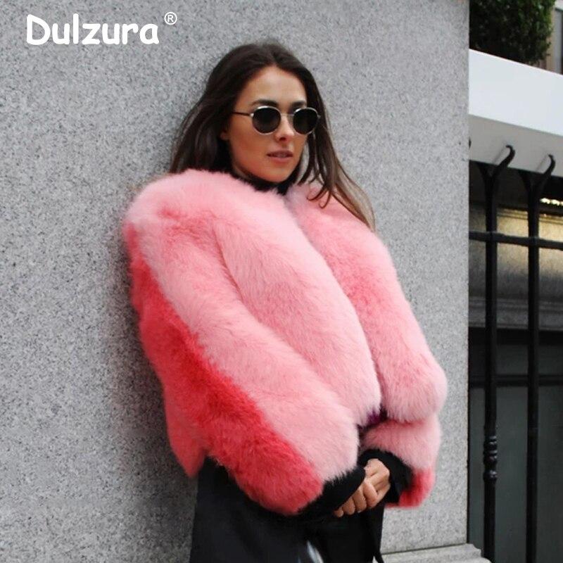 Sweet 2 Color Patchwork Faux Fur Coat Women Exclusive Custom Winter Fluffy Faux Fox Overcoat Street Chic Jacket Coat Overwear