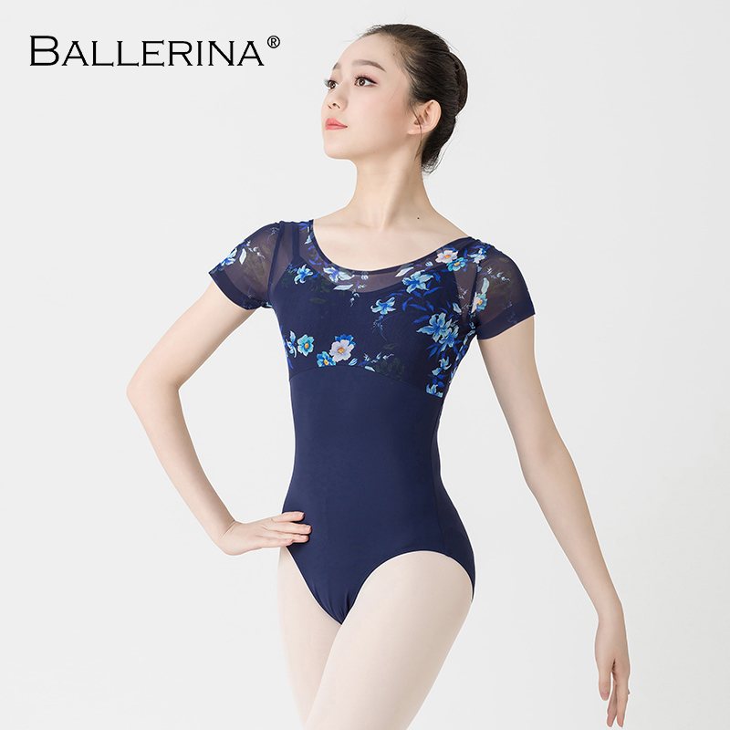 Ballet Dance Dleotard For Women Dance Costume Gymnastics Printing Short Sleeve Mesh Leotard Adult Ballerina 3507