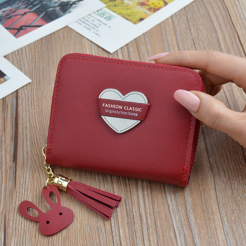 Wallet Women's Short Zipper Tassels Heart New Style Korean-style Students Wallet Small Mini Key And COIN Case