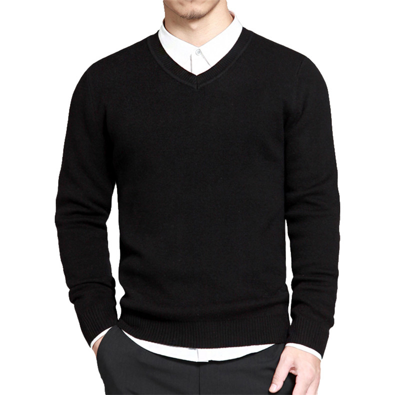 Slim Sweater Pollovers Men Casual Cotton Sweater Jumper Pullover Male Business V-Neck Knitwear Jersey Man Plus Size 4XL Black 02