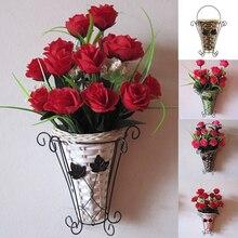 Переплетение лозы на стену Искусственные цветы в корзинке украшение для комнаты