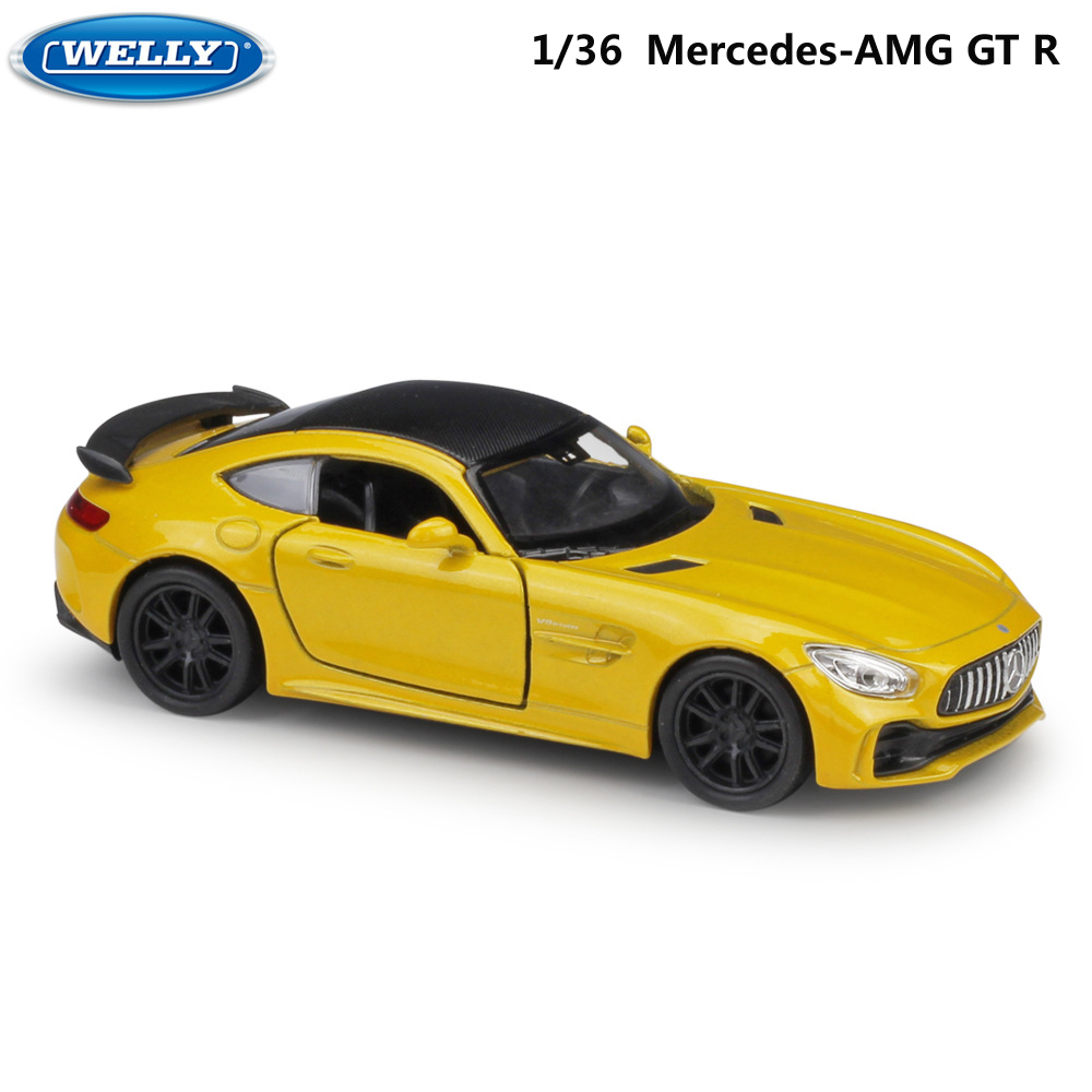 WELLY 1:36 Similator Diecast Toy Vehicle Mercedes-AMG GTR Model Race Car Pull Back Alloy Metal Toy Car For Kids Gifts Collection