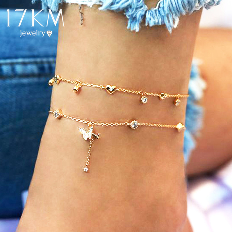 17KM Bohemian Butterfly Anklets for Women Multilayer Crystal Anklet 2020 NEW Foot Bracelet on Leg Beach Turtle Anklet Jewelry