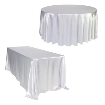 Round 275cm Rectangle 228x335cm White Satin Tablecloth Hotel Banquet Table Cloth Cover for Wedding Party Home Decoration Supply