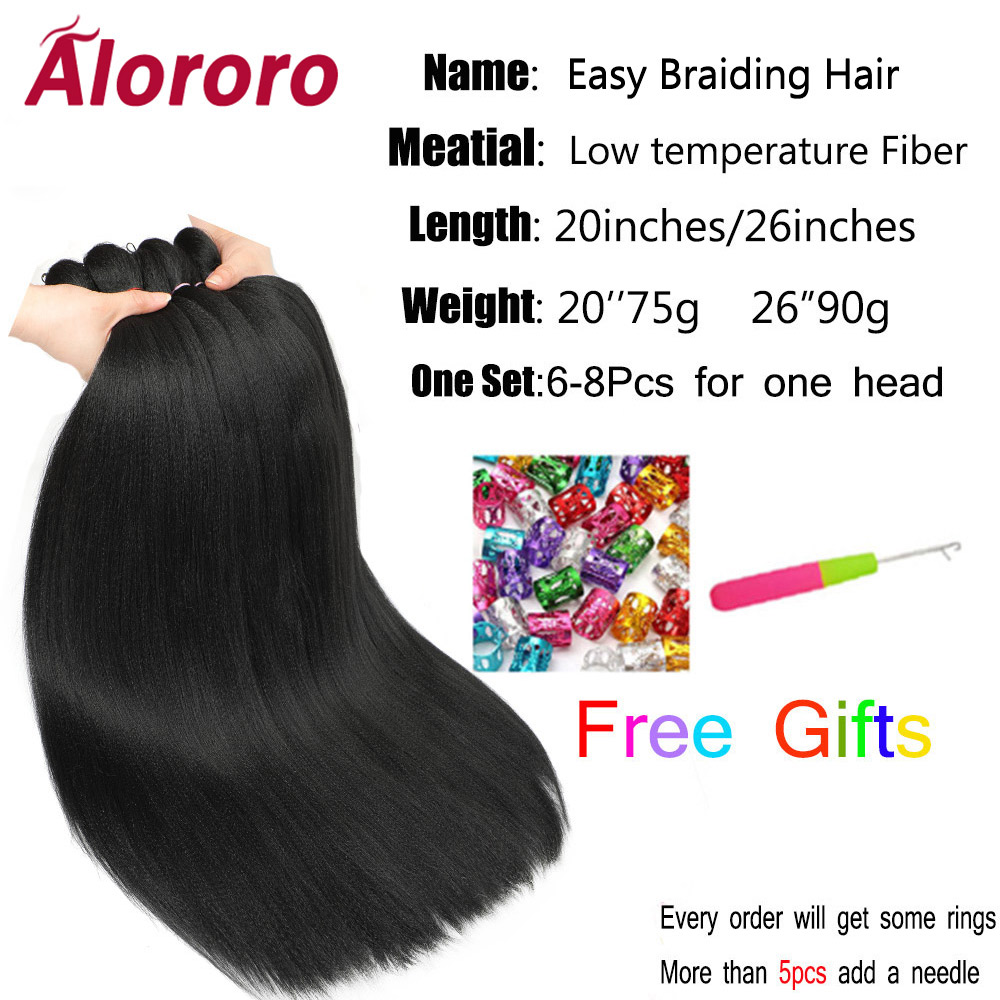 Alororo Easily Braids Pre Stretched Braiding Hair Low Temperature Fiber Synthetic Hair Extension Professional Crochet Hair