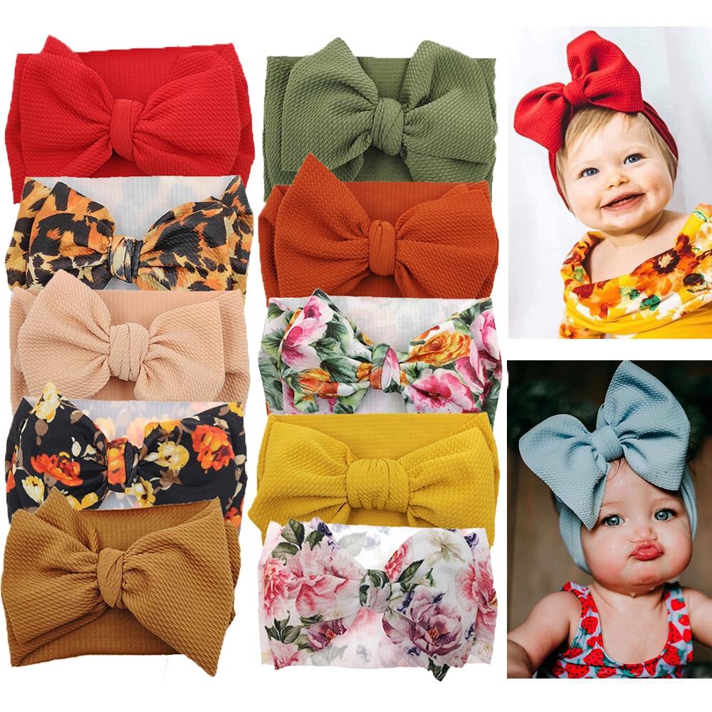 10 шт./лот, повязка на голову с большим бантом для девочек, широкая нейлоновая повязка в рубчик, повязка на голову для новорожденных, повязка на голову для малышей, Детские аксессуары для волос 1