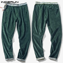 INCERUN Autumn Casual Men Ethnic Style Solid Fashion Corduroy Pants Warm Comfort Hip-hop Men Stretch Elastic Trousers Joggers
