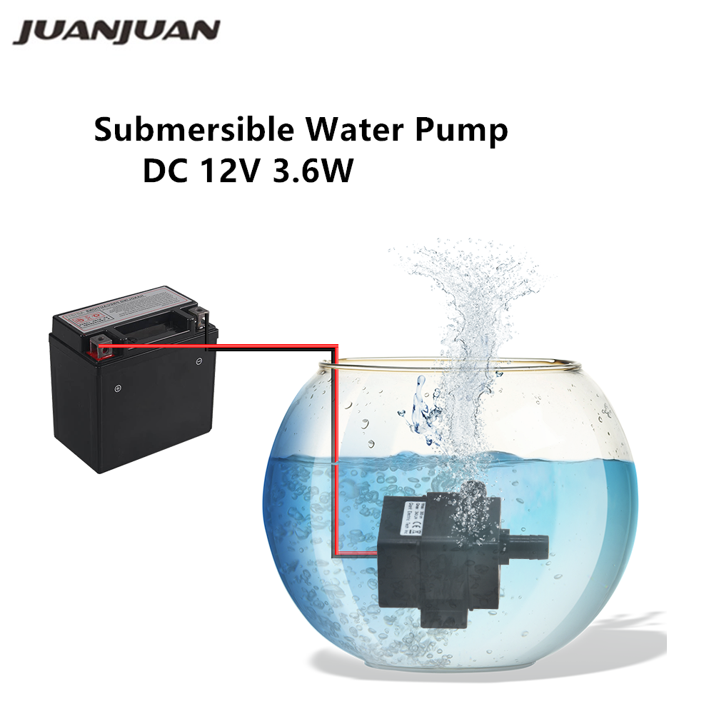 DC 12V 3.6W 240L/H Submersible Water Pump Mini Electric Flow Rate Waterproof Brushless Pump For Garden Goldfish Bowl 40%off