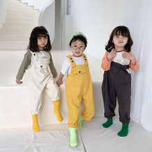2020 Spring Summer Baby Clothes Toddler Kids Boy Girl Romper Jumpsuit Solid Children Overalls Pocket Fashion Clothes 1-6T(China)