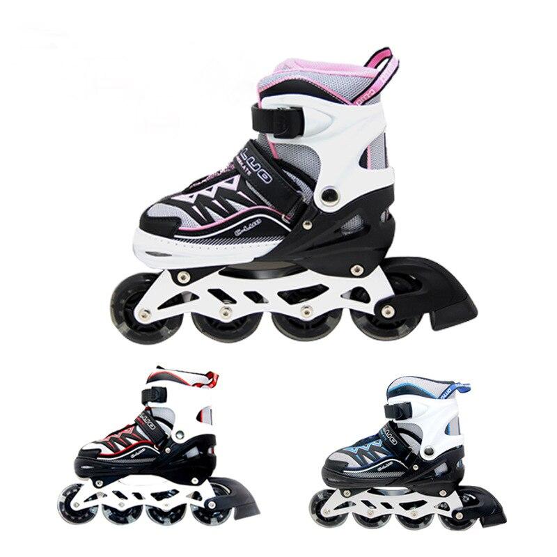 Pu-Roller Inline Skates Kids Roller Skates Skates Sneaker Outdoor Children Silding Free Safe Patins Sport Shoes Size 35-42