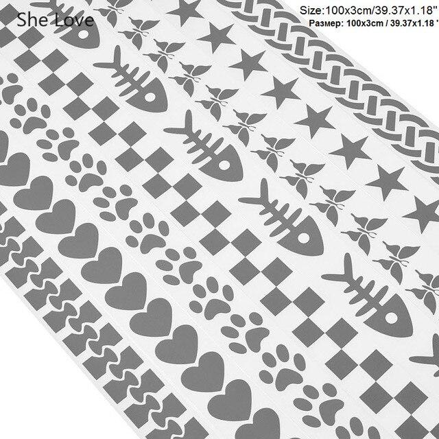 Lei Amore 100x3 centimetri di Calore di trasferimento del Nastro Riflettente Autoadesivo di Carta Pellicola Del Vinile FAI DA TE In Argento Ferro Sul Tessuto vestiti riflettenti Nastri 3