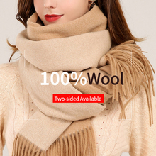 Reversible Women 100% Pure Wool Scarves Two-sided New 2019 Brand Warm Shawls and Wraps for Ladies Solid Winter Lamb