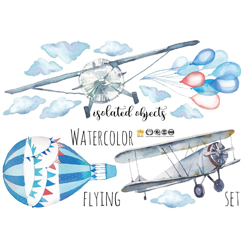 Large Watercolor Hand-painted Airplane Balloon Children Room Wall Stickers for Kindergarten Wall Decor Plane Flying room mural image