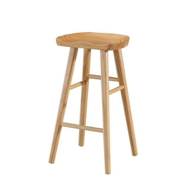 Northern Europe Light Luxury Bar Chair Bar Solid Wood Household Chair High Stool European Stool Modern Simple Bar Chair Bar Stoo