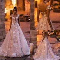 Скромное Свадебное платье 2020 с 3D цветочной аппликацией, кружевное платье с рукавами-крылышками, свадебное платье с открытой спиной, ТРАПЕЦИ...