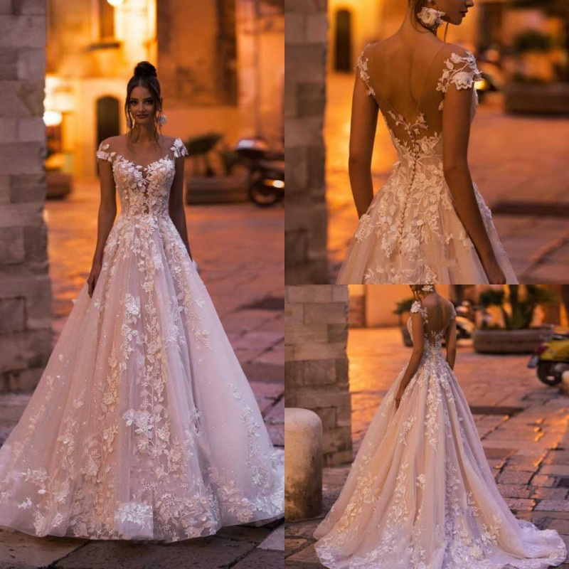 Modest 2020 Wedding Dress 3D Floral Appliqued Lace Cap Sleeve Wedding Gowns Backless A Line Vestido De Noiva