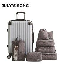7 adet/takım katyon seyahat çantaları su geçirmez bagaj ambalaj organizatör kadın taşınabilir ambalaj giyim sıralama çantası çanta aksesuarları