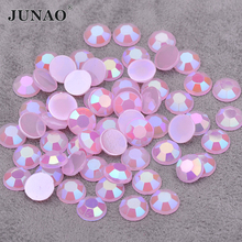 JUNAO 6 7 8 mm Pink AB Round Crystal Rhinestone Flatback Acrylic Crystal Stones Non Sewing Strass Diamond for Crafts
