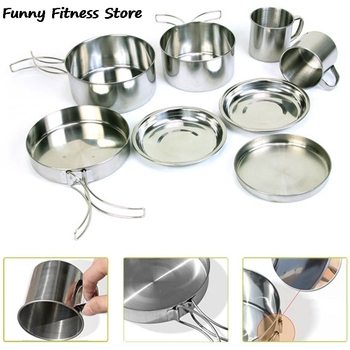 8PCS Outdoor Picnic Cookware Stainless Steel Tableware Travel Camping Hiking Cooking Backpacking Set Survival Tool Cooker Dishes naturehike outdoor ultralight tableware sets camping hiking cookware tableware picnic backpacking cooking bowl pot pan cooker