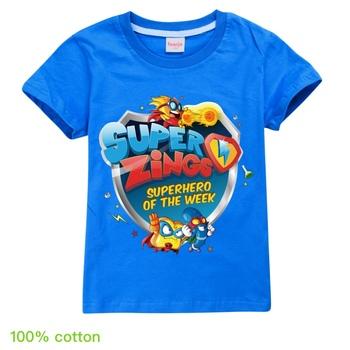 Śmieszne SuperZings Cartoon niebieska koszulka dla dzieci chłopcy dziewczęta śliczna koszulka graficzna urocza koszulka Anime modne ciuchy dla dzieci Super Zings tanie i dobre opinie BIQUINI COTTON CN (pochodzenie) Czeski REGULAR O-neck Krótki Pasuje prawda na wymiar weź swój normalny rozmiar Unisex