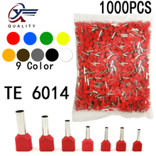 1000pcs/Pack TE 6014 Insulated Ferrules Terminal Block Double Cord Terminal Copper Insulated Crimp terminal Wires 2x6.0mm2 diy wp2 9 terminal block black red 5 piece pack
