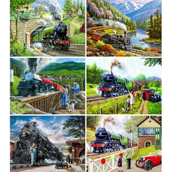 HUACAN DIY Diamond Painting Train Landscape Home Decoration Full Drill Embroidery Handcraft Art Picture