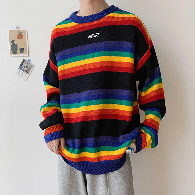 Suéter de arcoíris rayas Streetwear tapas Harajuku Retro par casual coreano Unisex sudaderas hombres Hip hop abrigos de punto Masculino