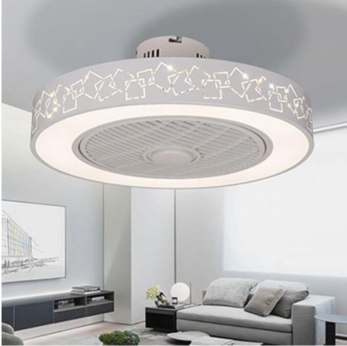 LED Dimming Remote Control Ceiling Fans Lamp Invisible Leaves 50cm Modern Simple Home Decoration Luminaire