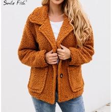 Warm Autumn Winter Pockets Long Sleeve Buttons Turn Down Collar Women Coat Elegant Coats Wo