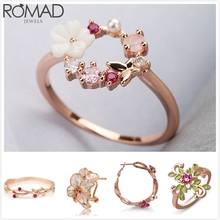 ROMAD Enamel Flower Ring Vintage Zircon Crystal Rings For Women Rose Gold Engagement Dainty Korea Girl R5
