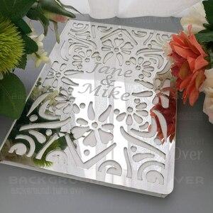 Image 3 - パーソナライズされた結婚式ゲストブックアルバムカスタムsignaturオーバルホワイト空白の内側のページmirro名日付ブライダルパーティーギフト装飾G009