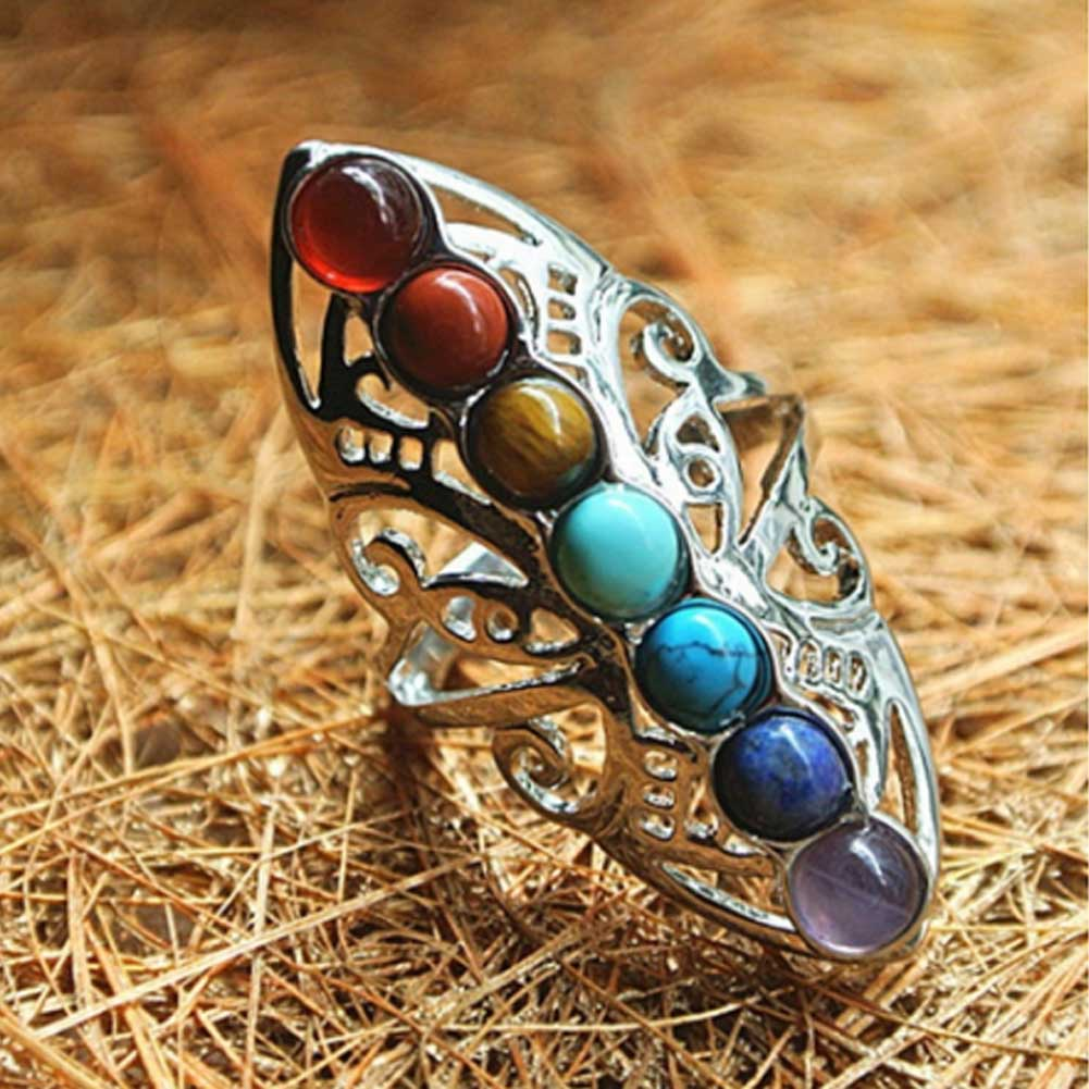 Посеребренные 7 Чакра Исцеление полые с накатанной головкой рейки натуральные камни Кольцо для Для женщин регулируемое кольцо в стиле «Бох...