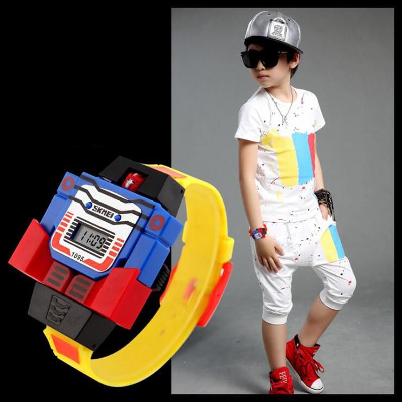 Fashion LED Digit Kids Watch Cute Relogio Relojes Robot Electronic Watch Children Sports Cartoon Watches Kids Xmas Gifts