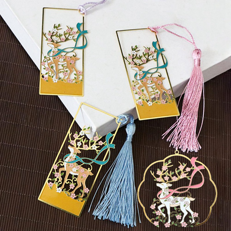 Metal Bookmark Chinese Style Color Brass Tassel Retro Book Mark For Teachers Gift Student Supplies Gift Office School Stationery