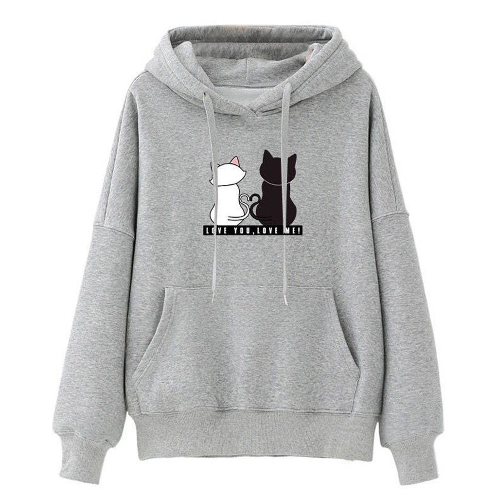 Women  Hoodies Casual Sweatshirt With Pocket  Winter Ladies Baggy Cat Jumper Pullover Tops Cute Hoodies