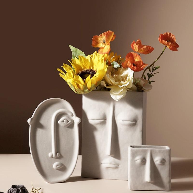 الشمال الإبداعية السيراميك زهرية بسيطة الوجه الديكور غرفة نوم الديكور غرفة معيشة شرفة تشكيلة زهور ديكور المنزل
