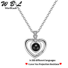 Gold Silver 100 Language I love You Necklace Romantic Love Memory Projection Pendant Wedding Letter Necklace For Women 2019 New(China)