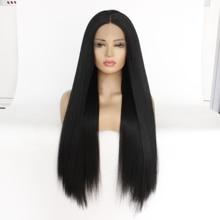 Mrwig longo yaki em linha reta peruca dianteira do laço sintético meados de parte glueless resistente ao calor fibra senhora mulher 150% densidade