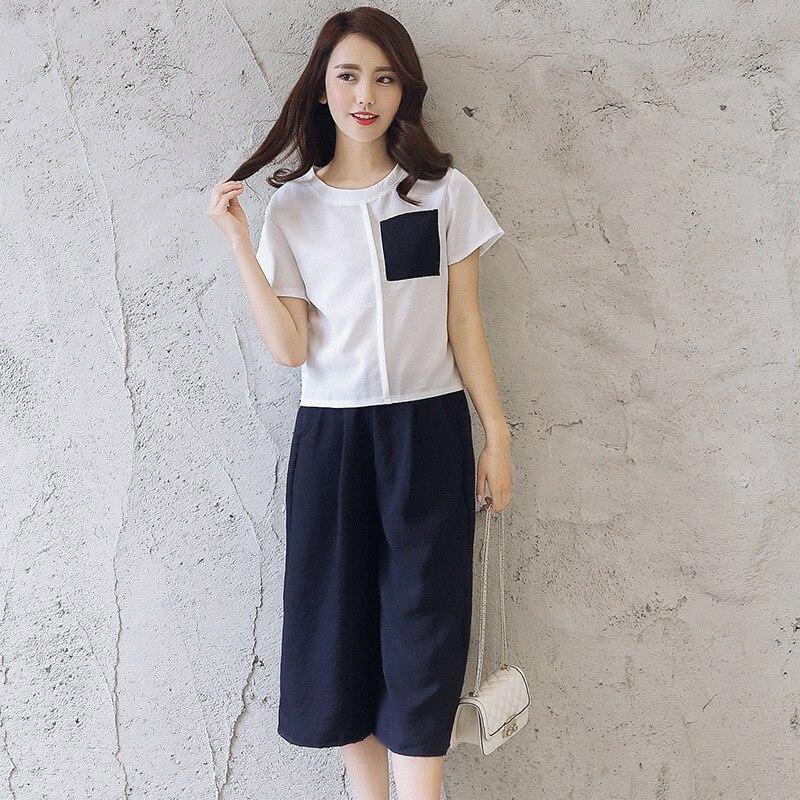2017 Summer Wear New Style Korean-style WOMEN'S Wear Trendy Two-Piece Set Elegant T-shirt Loose-Fit Capri Pants Loose Pants Set