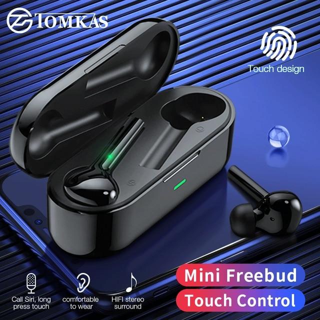 TOMKAS Freebud TWS Wireless Bluetooth Earphones 5.0 True Wireless Earbuds Headset Stereo Bluetooth Headphones with Mic for Phone