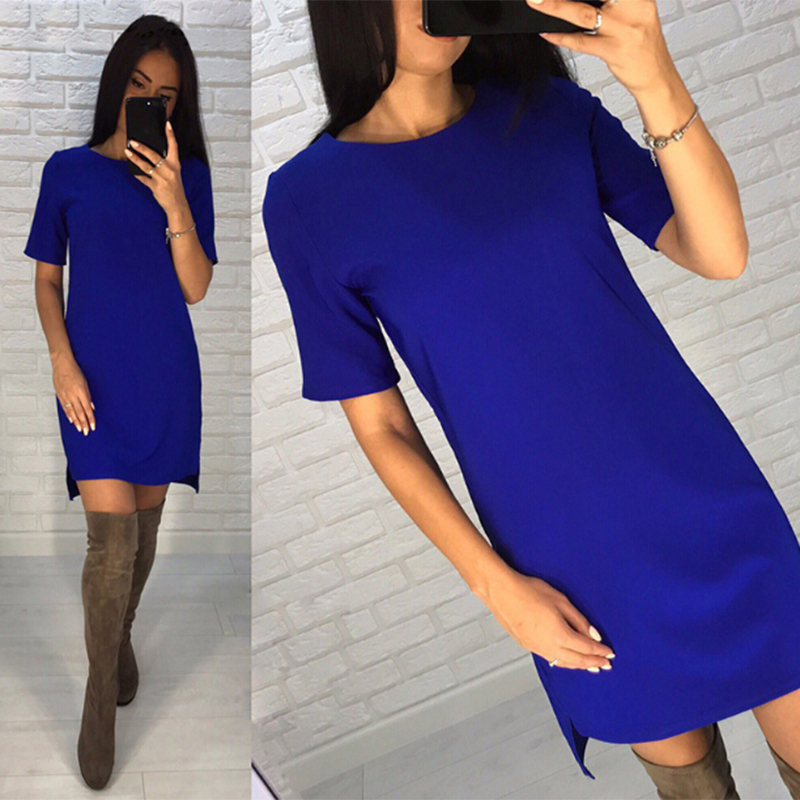 New Casual Shirt Solid Color O-Neck Short Sleeve Slim Mini Office Dresses 2019 New Elegant Women's Bodycon Slim Pencil Dress